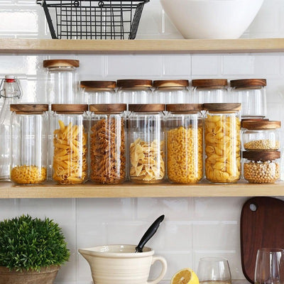Acacia Glass Food Storage Jars | Food Storage | Kitchen Storage | Glass and Wood Storage Jars | Food Storage Tanks | Estilo Living