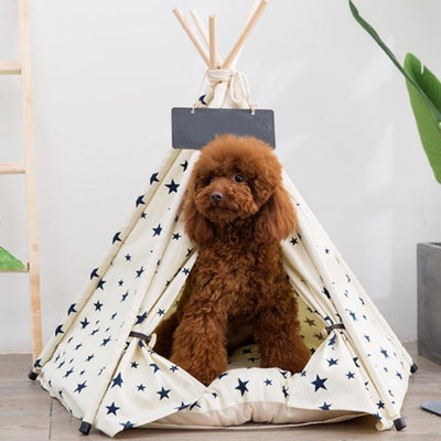Cream Canvas with Navy Stars Modern Boho Dog Teepee with Plush Dog Bed Cushion