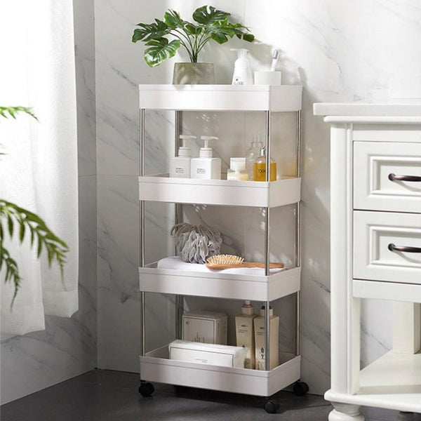 White Mobile Trolley Shelves Organizer for Bathroom Storage by Estilo Living