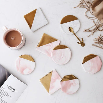 Luxury Marble Grain and Gold Plating Ceramic Coasters-Kitchen Utensils Set Collection-Estilo Living