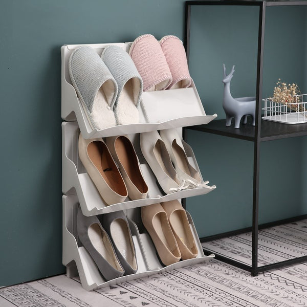 Shoes being stored in Light Gray Shoe Storage & Organizer Rack, Shoe Racks Storage Collection, from Estilo Living