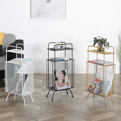 Gold, White and Black Iron Blair Side Table with Bookshelf and Magazine Storage, and a Top Shelf for Home Decor Display