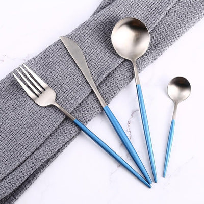 Silver and Sky Blue 24-Piece Dinnerware Cutlery Set | Flatware Sets | Metallic Cutlery Sets | Silver And Sky Blue Cutlery | Stylish Cutlery | Modern Flatware | Elegant Flatware | Estilo Living