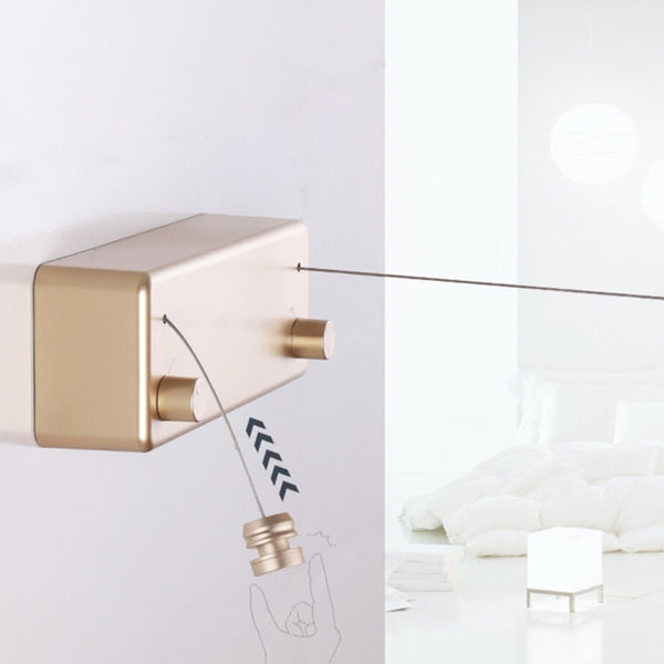 Wall Mounted Dual Retractable Clothes Line in Gold Metallic by Estilo Living