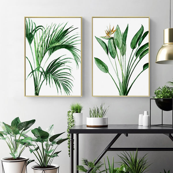 Scandinavian Green Leaves Watercolor Canvas Prints Collection