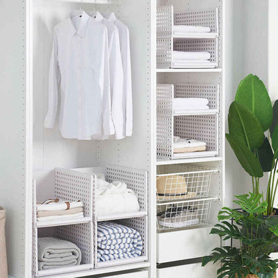 Stackable Wardrobe Organizer Drawers | Wardrobe Partition | Wardrobe Storage Baskets | Clothes Storage Organizer | Plastic Shelves for Wardrobe | Estilo Living