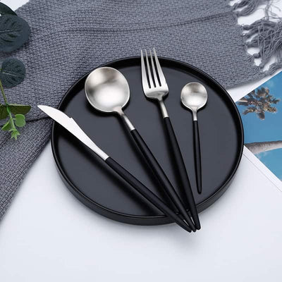 Silver and Black 24-Piece Dinnerware Cutlery Set | Flatware Sets | Metallic Cutlery Sets | Mint And Gold Cutlery | Stylish Cutlery | Modern Flatware | Elegant Flatware | Estilo Living