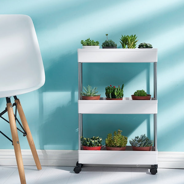 White Mobile Trolley Shelves Organizer for Indoor Plant Holders and Planter Pot Display Storage Storage by Estilo Living