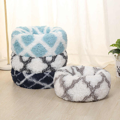 Chevron Calming Round Plush Pet Donut Bed | Cat Beds | Pet Beds | Donut Beds | Plush Cat Beds | Cat Nests | Dog Beds | Calming Dog Beds | Estilo Living