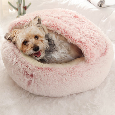 Round Plush Calming Dog Cave Bed | Dog Beds | Pet Beds | Pet Caves | Plush Dog Beds | Dog Nests | Estilo Living