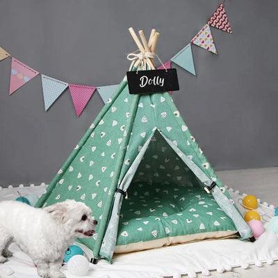 Plush Shapes Dog Teepee with Dog Bed | Pet Teepee | Pet Tent | Teepees for Dogs | Estilo Living