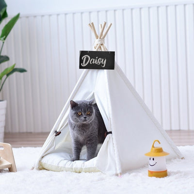 White Canvas Cat Teepee with Soft Cat Bed Cushion | Cat Tents | Cat Teepees | Cat Beds | Cat Caves | Pet Tents | Pet Teepees | Estilo Living