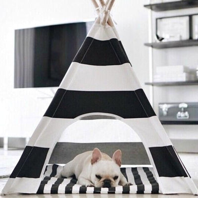 Black and White Stripe Dog Teepee with Dog Bed | Dog Teepees | Dog Tents | Pet Teepees | Cat Teepees | Estilo Living