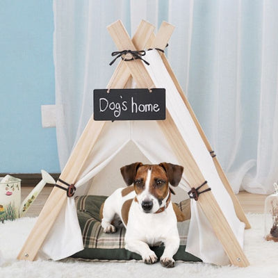 Farmhouse Style Indoor Dog Tent - White Canvas Dog Teepee - Cat Tent - Cat bed