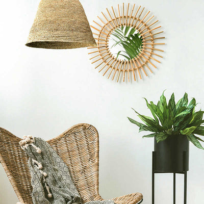 Boho Chic Hanging Mirror with Handwoven Wicker Frame-Home Decor-Estilo Living
