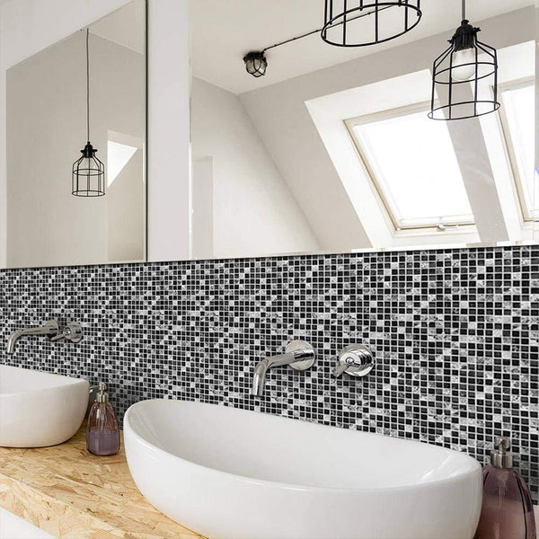 Black and White Mosaic Designer Tile Decals-Tile Decals For Bathroom-Estilo Living