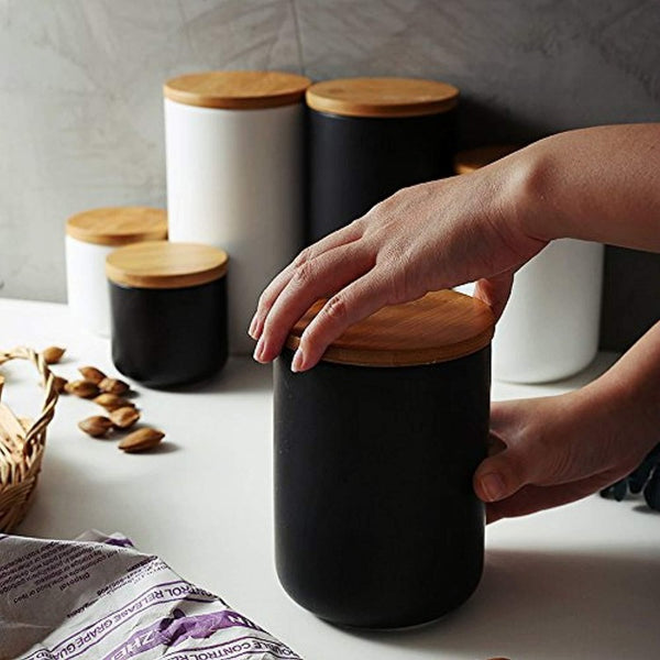 Black & White Ceramic Food Storage Jars-Storage-Storage Jars With Lid Collection-Estilo Living