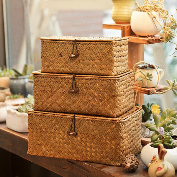 Coastal Seagrass Storage Baskets-Storage Basket Decorative Collection -Estilo Living