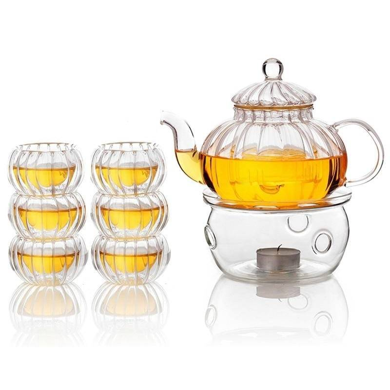 Crystal Clear Glass Teapot Set-Eating Utensils Collection-Estilo Living