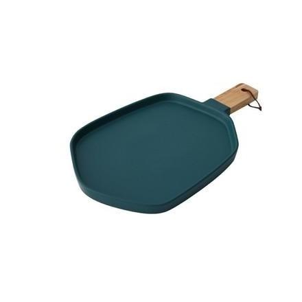 Cuisinier Ceramic Serving Plates with Wooden Handles-Kitchen-Estilo Living-Deep Green-Large-Estilo Living