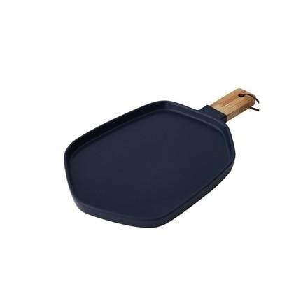Cuisinier Ceramic Serving Plates with Wooden Handles-Kitchen-Estilo Living-Navy Blue-Large-Estilo Living