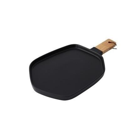 Cuisinier Ceramic Serving Plates with Wooden Handles-Kitchen-Estilo Living-Black-Large-Estilo Living