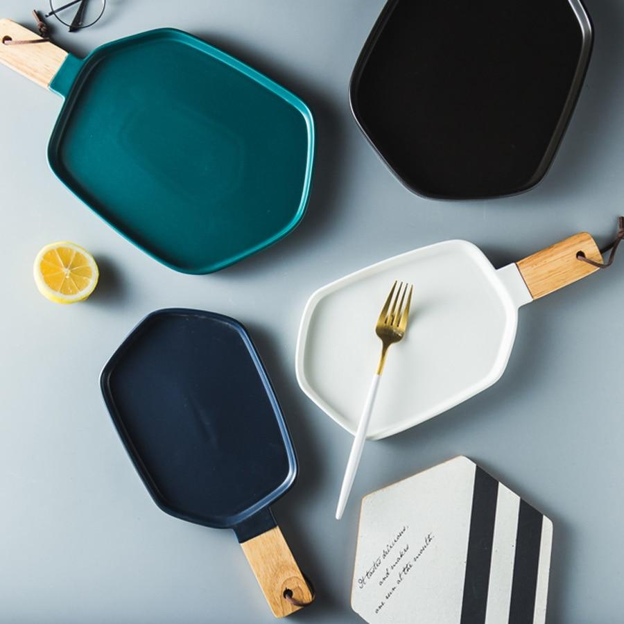 Cuisinier Ceramic Serving Plates with Wooden Handles-eating Utensils Collection-Estilo Living