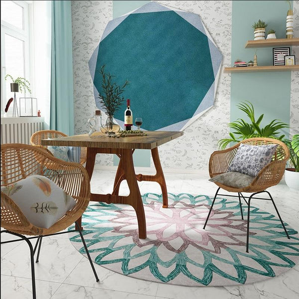 Floral Dynasty Round Rug Collection-Floor Rugs-Estilo Living