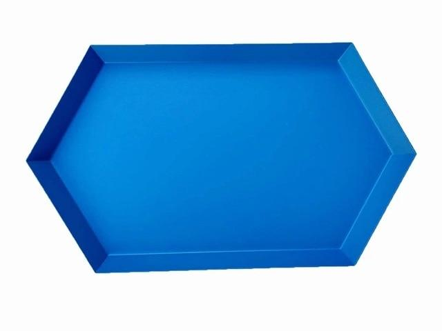 Geometric Stainless-Steel Display Trays-Kitchen-Estilo Living-Blue-Large-Estilo Living