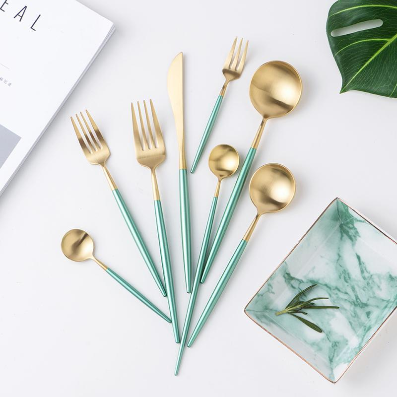 Gold and Turquoise Dinnerware Cutlery Set-Kitchen-Estilo Living-Select-Estilo Living