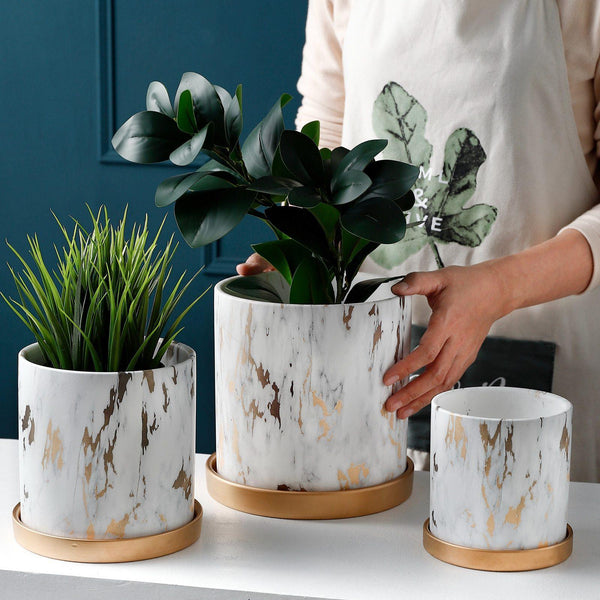 Golden Maze Flower Pots Home Decor Collection-Estilo Living