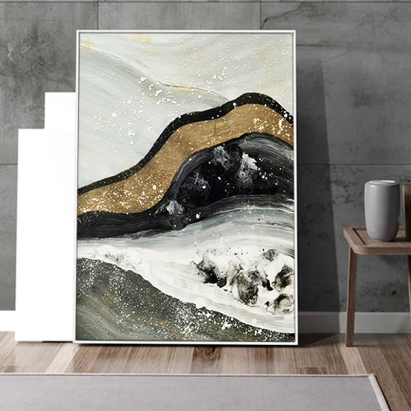 Golden Quicksand Mountains Abstract Canvas Prints Set-Wall Art on Canvas-Estilo Living