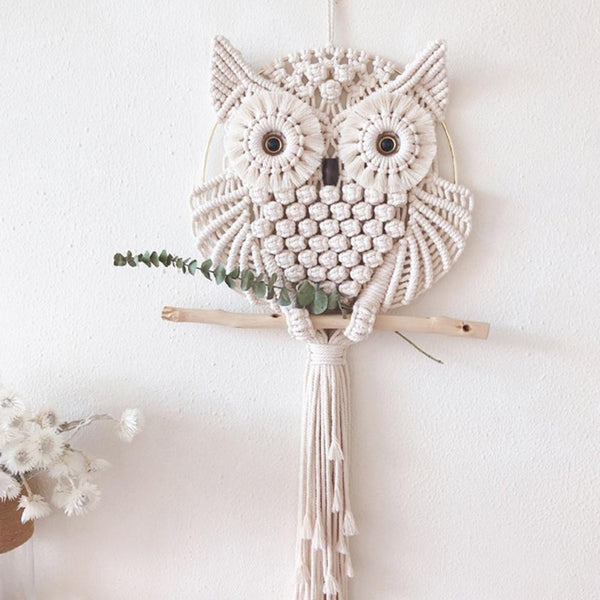 Handmade Macrame Wall Owl- Home Decor Collection-Estilo Living