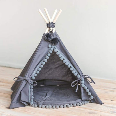 Gray Boho Pompom Teepee for Dogs and Cats | Dog Teepees | Cat Teepees | Gray Teepees for Pets | Pet Tents | Cute Pet Beds | Estilo Living