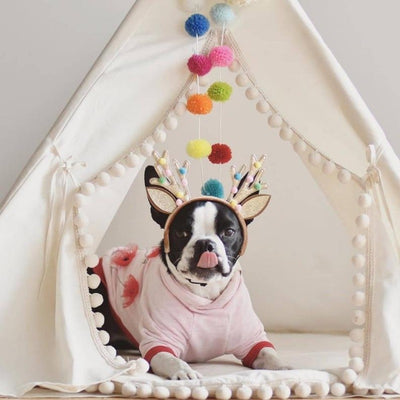 Ivory Boho Pompom Dog Teepee for Small to Large Dogs | Boho Dog Teepees | Boho Dog Beds | Large Dog Beds | Large Dog Teepees | Estilo Living