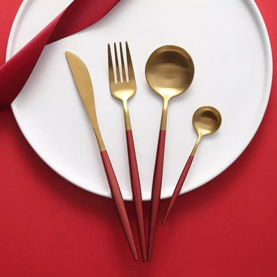 Gold and Red 24-Piece Dinnerware Cutlery Set | Flatware Sets | Metallic Cutlery Sets | Mint And Gold Cutlery | Stylish Cutlery | Modern Flatware | Elegant Flatware | Estilo Living