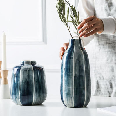 Indigo Glaze Ceramic Vase Collection-Home Decor-Estilo Living