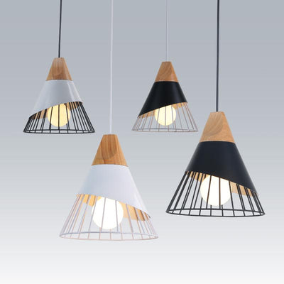 Industrial-Wood Sloped Pendant Lights-Pendant Lights with Rope-Estilo Living