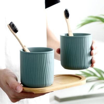 Matte Tree Toothbrush Holder Set-Toothbrush Holder Cup-Estilo Living
