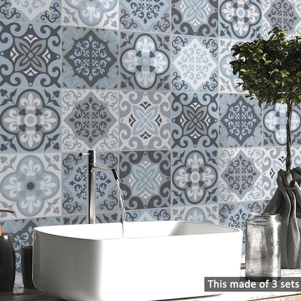 Mediterranean Blue Tile Decal Set-Decals for Glass-Estilo Living