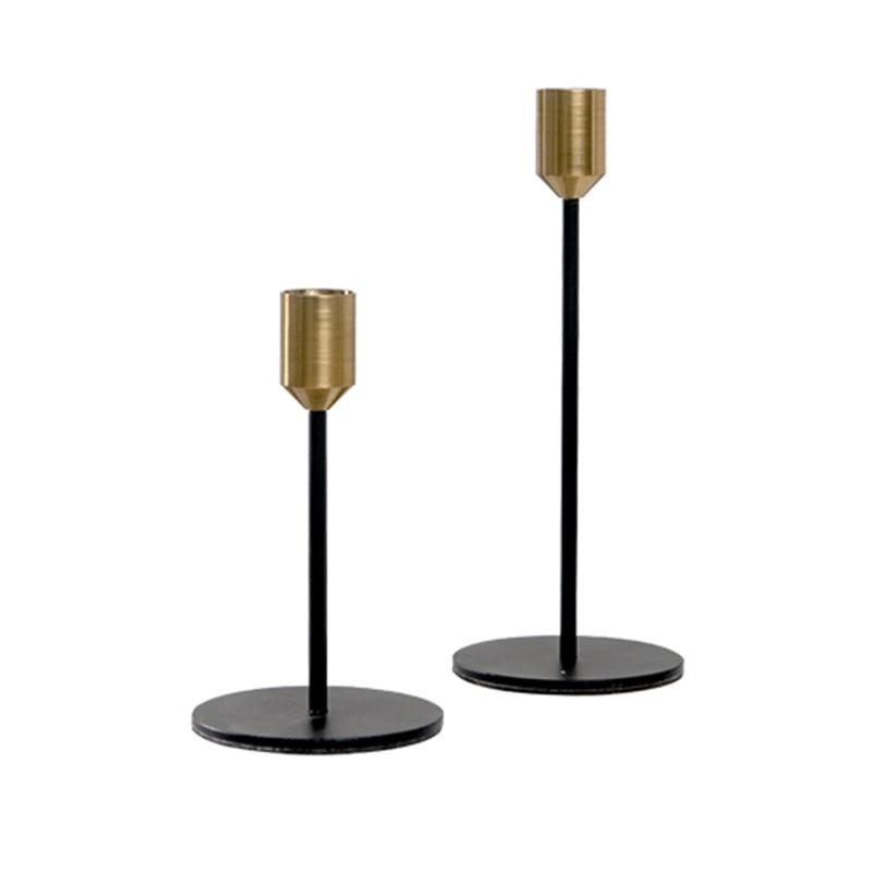 Modern Gold and Black Metal Candle Holders-Home Decor Products-Estilo Living