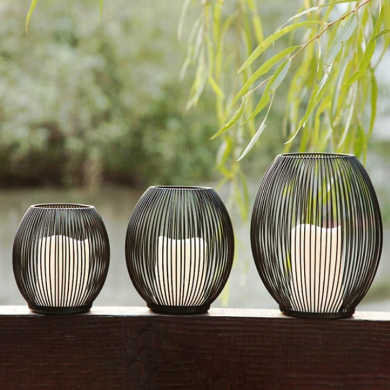 Modern Metal Basket Candle Holders-Home Decor-Estilo Living