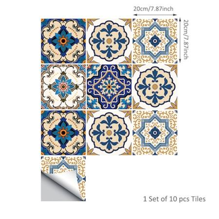 Moroccan-Style Tile Decal Set-Designer Decal-Estilo Living-20cm x 20cm-10 Pieces-Estilo Living