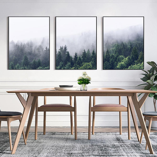 Nordic Misty Mountain Forest Canvas Print Collection-Wall Art-on Canvas-Estilo Living