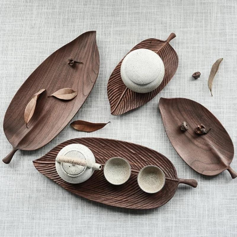 Oriental Leaf Wooden Serving Trays-Home Decor Kitchen Collection-Estilo Living