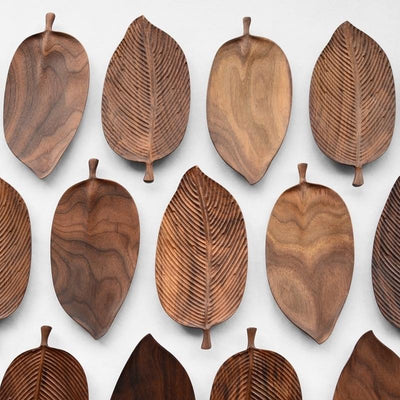 Oriental Leaf Wooden Serving Trays- Black Walnut Trays - Decorative Wood Trays - Wood Leaf Trays - Home Decor Kitchen Collection-Estilo Living