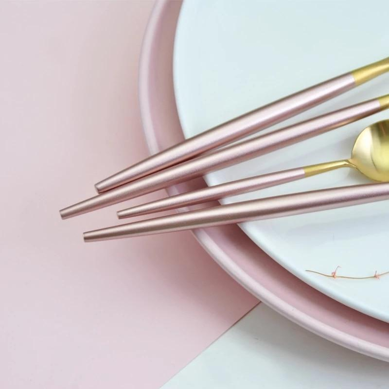 Pink and Gold Cutlery Dinnerware Set-Cooking Utensils Collection-Estilo Living