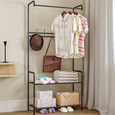 The Stella Standing Clothes Hanger Rack with Storage Shelves | Entryway Storage | Wardrobe Storage | Estilo Living