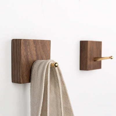 Natural Solid Wood & Brass Wall Hooks | Black Walnut Storage Hooks | Beech Wood Storage Hooks | Wall Storage | Estilo Living