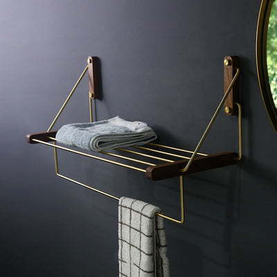 Nordic Brass Wall-Mounted Folding Storage Shelf Rack | Black Walnut Wall Storage Rack | Wall Storage | Estilo Living